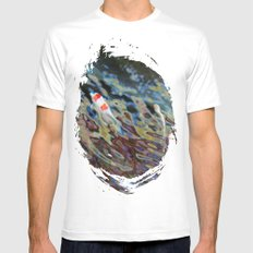Watercolor Koi MEDIUM White Mens Fitted Tee