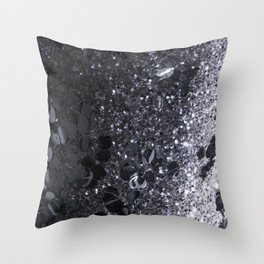 Black and Gray Glitter Bomb Throw Pillow