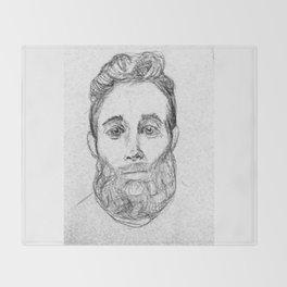 Sketchy Sweet Beardy Man Throw Blanket