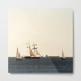 Sailboats in a windy day Metal Print