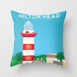 Hilton Head, South Carolina - Skyline Illustration by Loose Petals Throw Pillow
