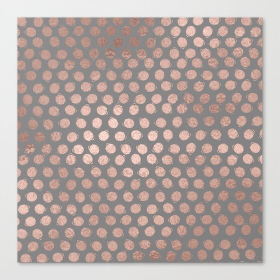Handpainted Rosegold polkadots on grey background Canvas Print