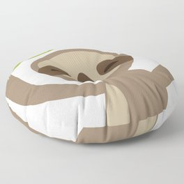 funny and cute smiling Three-toed sloth on green branch Floor Pillow
