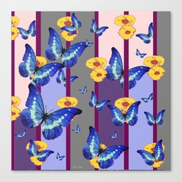 CATCHING BLUE BUTTERFLIES IN YELLOW FLORAL  CAGE Canvas Print