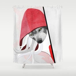 Wolf in little red riding hoods clothes Shower Curtain