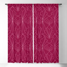 Art Deco in Raspberry Pink - Large Scale Blackout Curtain
