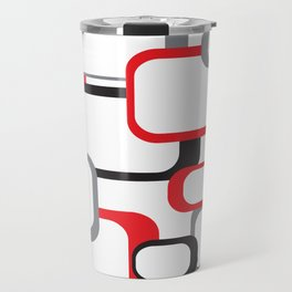 Red Black Gray Retro Square Pattern White Travel Mug