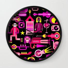 Festive City Vector Illustration Wall Clock