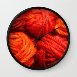 Many Balls of Wool in Shades of Red #society6 #decor #buyart Wall Clock