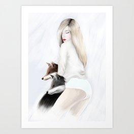women_fox Art Print