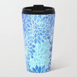 Space Dahlias Sky Blue Travel Mug