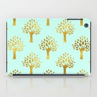 gold foil iPad Cases featuring Mint Gold Foil 02 by Aloke Design