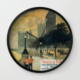 Paris a Londres, French Travel Poster Wall Clock