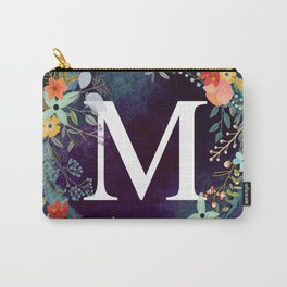 Personalized Monogram Initial Letter M Floral Wreath Artwork Carry-All Pouch