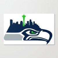 seahawks Canvas Prints featuring Seattle Seahawks Skyline by Ainslie Kellas