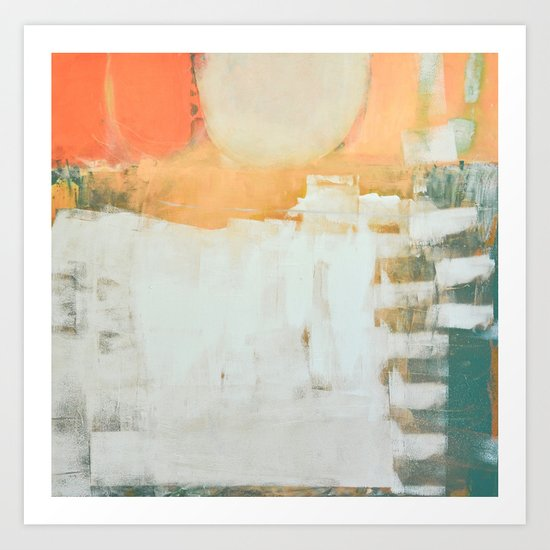 abstract, orange and green Art Print