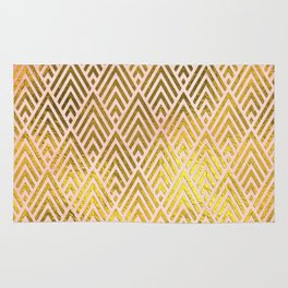 Gold foil triangles on pink - Elegant and luxury triangle pattern Rug