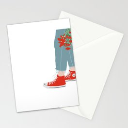 Red Chucks, Red Flowers Stationery Cards