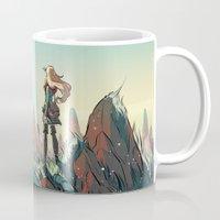 brand new Mugs featuring Brand new world by LaurenceBaldetti