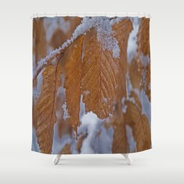 snow and leaves Shower Curtain