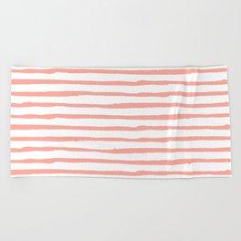 Pink Drawn Stripes Beach Towel