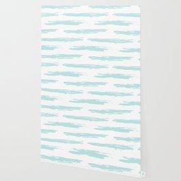 Swipe Stripe Succulent Blue and White Wallpaper