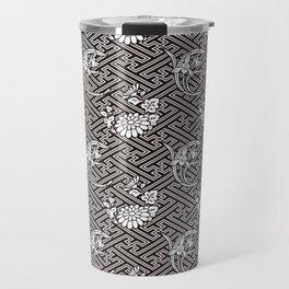 Black Chrysanthemum Auspicious Sayagata Japanese Kimono Pattern Travel Mug