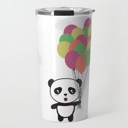 Panda with colorful balloons Travel Mug