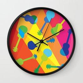 ukulele pattern Wall Clock