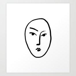 Matisse Line art Face #1 Art Print