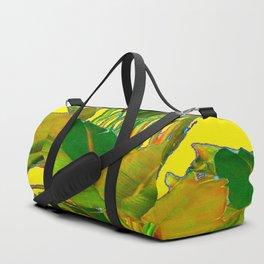 GOLDEN TROPICAL FOLIAGE GREEN & GOLD LEAVES AR Duffle Bag