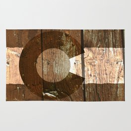 Rustic brown wooden Colorado flag Rug