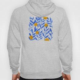 Tropical Lemons / Blue and Yellow Refreshing Lemon Print / Abstract Lemon Vibes / Summer Lemons Hoody