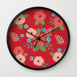 Flower Pattern, Pink Blue Flowers on Red, Vintage Floral Design Wall Clock
