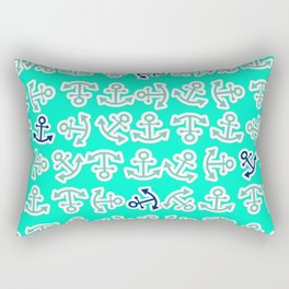 Anchors Away in Turquoise and Navy Graphic Art Design Rectangular Pillow
