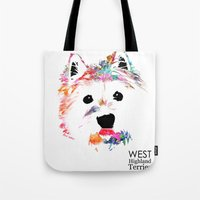 westie Tote Bags featuring Max the Westie by free in the lines