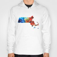 patriots Hoodies featuring Massachusetts - Map Counties By Sharon Cummings by Sharon Cummings