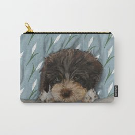Puppy and Peace Lilies Illustration Carry-All Pouch