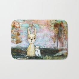My Best Friend, Rabbit Owl Painting Bath Mat
