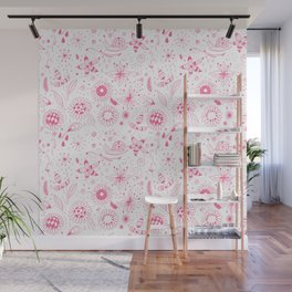 Pink doodle flowers pattern on white Wall Mural