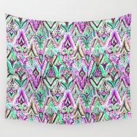 fringe Wall Tapestries featuring Fringe Ikat Tribal by Barbarian // Barbra Ignatiev