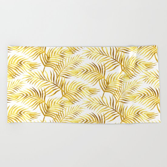Palm Leaves_Gold and White Beach Towel