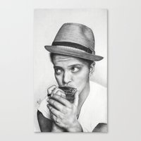 bruno mars Canvas Prints featuring Bruno Mars by Pritish Bali