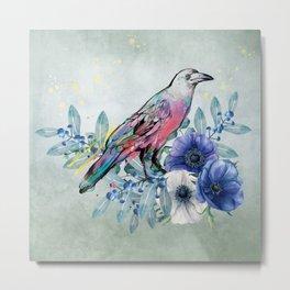Colorful Bird in Eucalyptus Metal Print