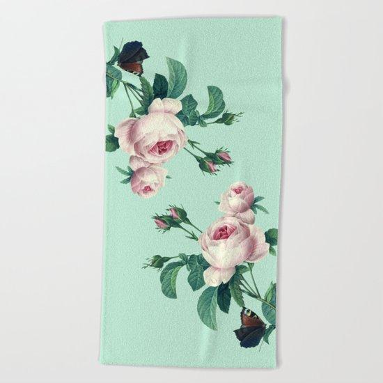 Roses Mint Green + Pink Beach Towel