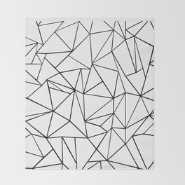 Abstract Outline Black on White Throw Blanket