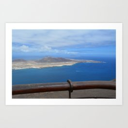 High view over the ocean and a island Art Print
