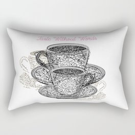 Coffee mugs with fresh coffee. Cups from signatures and words Rectangular Pillow