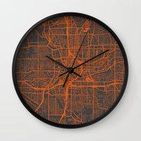 atlanta Wall Clocks featuring Atlanta map by Map Map Maps
