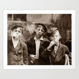 Newsboys Smoking - 1910 Child Labor Photo Art Print